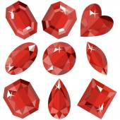 Set of sparkling ruby of various shapes. Vector illustration. — Stock Vector