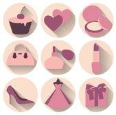 Flat design elements of feminine accessories — Stock Vector