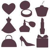 Silhouette of feminine accessories — Stock Vector