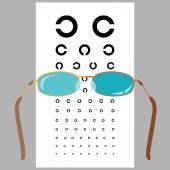 Eyeglasses and eye chart. — Stock Vector