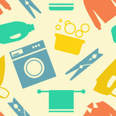 Seamless pattern of Laundry and Washing Icons. Vector illustration.  Flat design. — Stock Vector