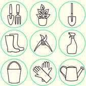 Line design set of gardening tool icons isolated on white background. — Stock Vector