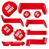 Set of realistic red paper ribbons and discount stickers. — Stock Vector