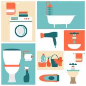 Flat design icons on a theme of bathroom, toilet, cleaning. — Stockvektor