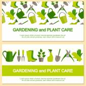 Flat design banner for gardening and plant care. — Stock Vector