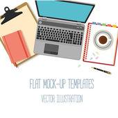 Плоские макеты для проектирования и Инфографика — Cтоковый вектор