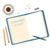 Open a blank white notebook, pen andpencils on the desk — Stock Vector