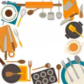 Flat design frame of kitchenware isolated on white background. — Stock Vector