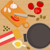 Flat design square banner of Italian traditional cuisine — Stock Vector