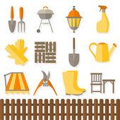 Flat design set of gardening tool icons — Stock Vector