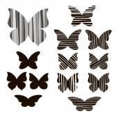 Butterflies silhouettes Set — Stock Vector