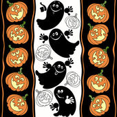 Halloween background with ghosts and pumpkins. — Stock Vector