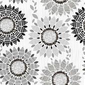 Monochrome seamless pattern of flowers. — Stockvektor
