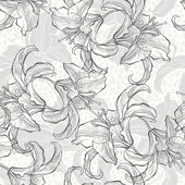 Monochrome seamless pattern with lilies. — Stockvektor