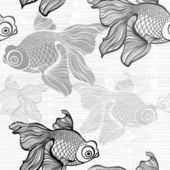 Monochrome seamless pattern with fishes — Stock Vector
