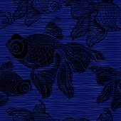 Seamless pattern with black fishes. — Stock Vector