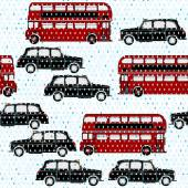 Seamless pattern with double-decker buses — Stock Vector