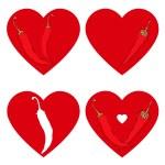 Chili pepper heart set — Stock Vector #64343701