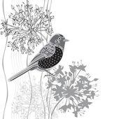 Cartoon bird and flowers. — Stock Vector