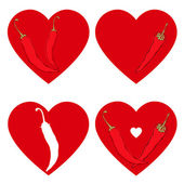 Chili pepper heart set — Stock Vector