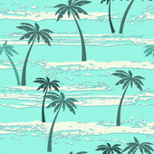 Pattern with sea and palm trees. — Stock Vector
