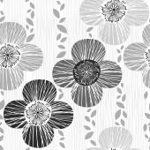 Monochrome seamless pattern with poppies. — Stock Vector