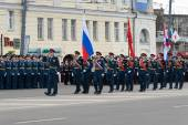 Soldiers in uniform with flags are at rehearsal of Military Parade — Stock Photo