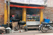 Local sweet and snack shop in Varanasi — Stock Photo
