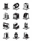 Metal containers icon set — Stock Vector