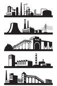 Industrial plants in perspective — Stock Vector