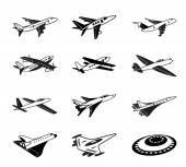 Various airplanes in flight — Stock Vector
