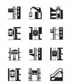 Lifts and elevators icon set — Stock Vector
