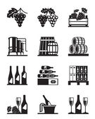 Grapes and wine icon set — Stock Vector