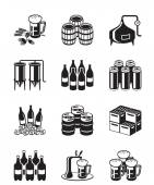 Beer and brewery icon set — Stock Vector