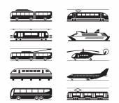 Public transportation icon set — Stock Vector