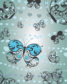 Butterfly and hearts background — ストックベクタ