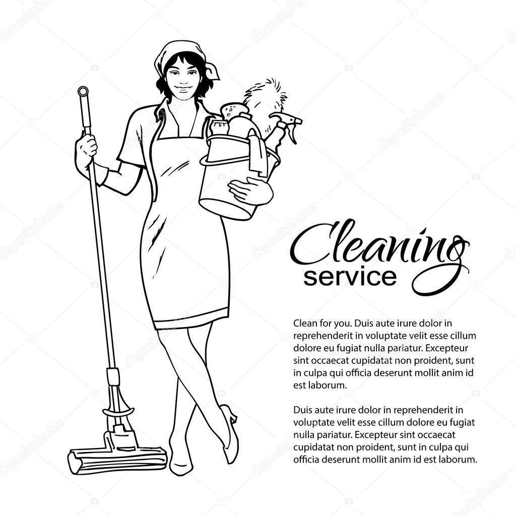 Woman in uniform. Cleaning services. — Stock Vector © Sabelskaya ...
