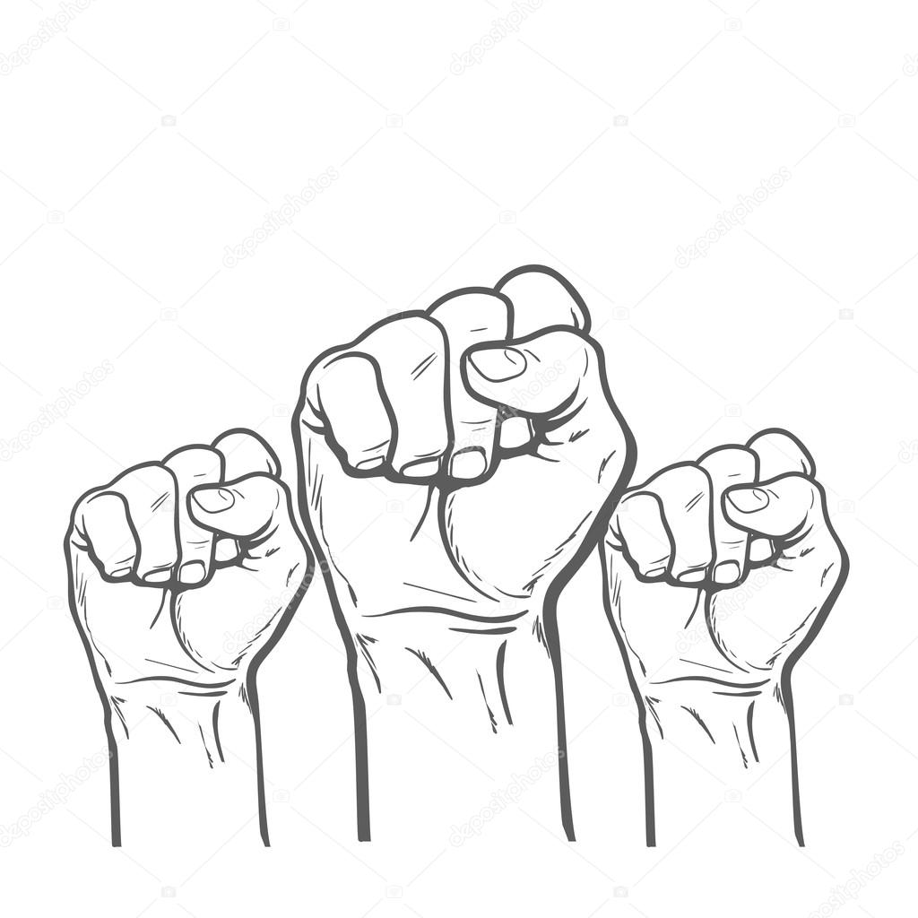 how to draw a fist in the air