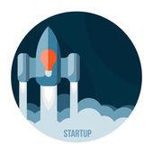 Foguete espacial voando no céu, startup — Vetorial Stock