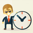 Businessman with time, business concept in busy and hard working. — Stock Vector #56142593