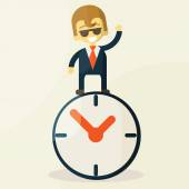 Businessman  with time, business concept in busy and hard working. — Stock Vector