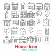 Building icons set. — Stock Vector