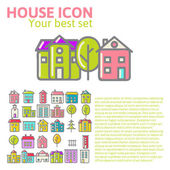 Linear set of house icons — Vector de stock