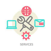 Line design concept icons for web services — Stock Vector