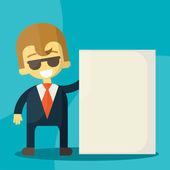 Businessman holding blank notes characters poses — 图库矢量图片