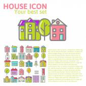 Linear set of house icons — Stock vektor