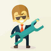 Smiling cartoon businessman with a huge wrench in his hands. — Stockvektor