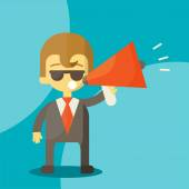 Young businessman with a megaphone — Vector de stock