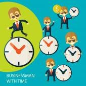 Set of businessman and clock — Stock Vector