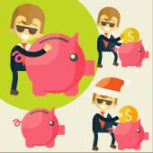 Businessman saves money in Piggy bank. — Stock Vector